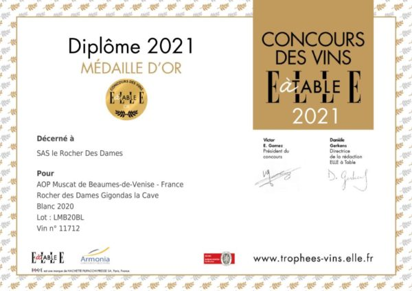 diplome medaille or 2021 concours elle a table